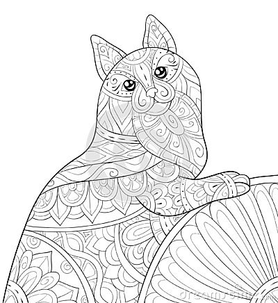 Free Adult Coloring Book,page A Cute Cat With Ornaments Image For Relaxing.Zen Art Style Illustration Royalty Free Stock Photos - 145042898