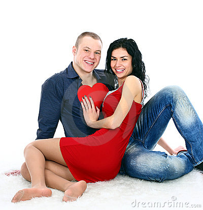 Adult couple with red heart