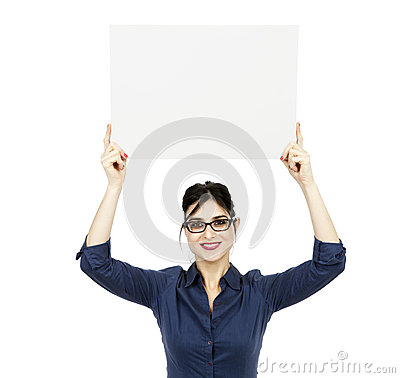 Business Woman Holding Sign
