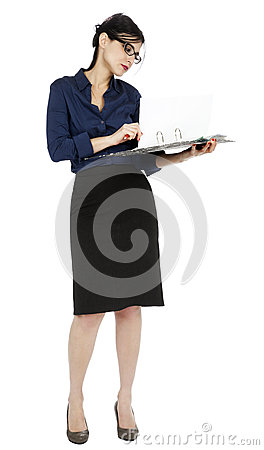 Business Woman Flipping Document Page
