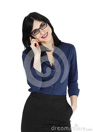 Business Woman Smiling with a Phone