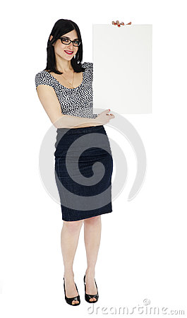 Isolated Pretty Woman Holding Sign