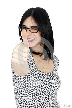 Isolated Thumbs-up Winking 30 s Woman