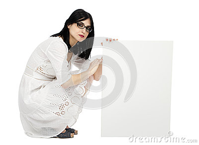 Summer Dress Woman Crouching Next to Sign