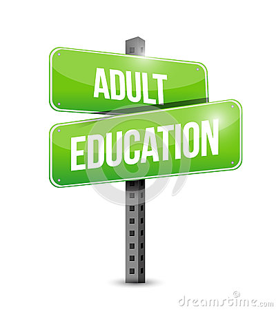 Adult education road sign illustration design