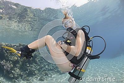 Adult Female Scuba Diver In Bikini Royalty Free Stock