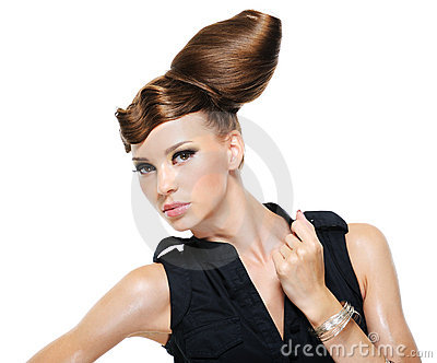 Adult girl with creative fashion stylish hairstyle