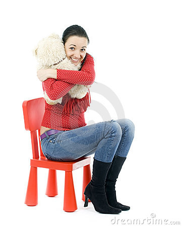 Adult girl hugging teddybear
