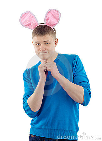 Adult guy with rabbit ears