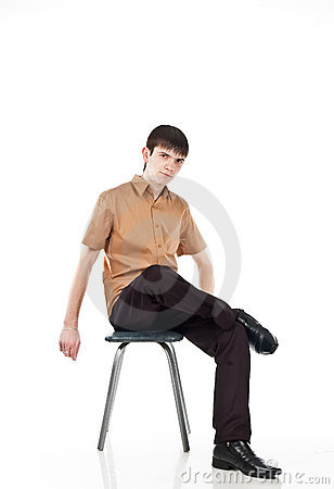 Adult guy sits on isolate backout