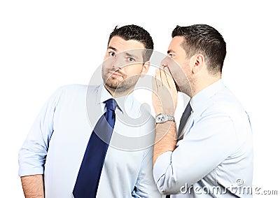 Adult handsome man listening to himself