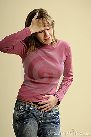 Adult having menstruation pain