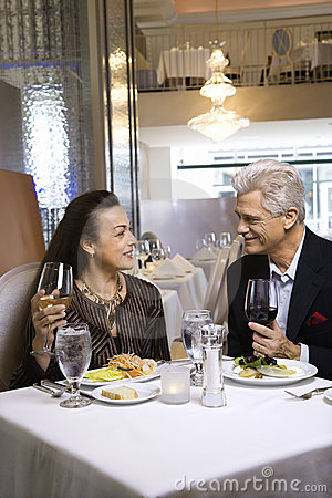 Free Adult Male And Female Sitting At Restaurant Table. Royalty Free Stock Images - 2037659
