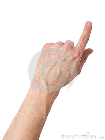 Adult male hand touching virtual screen