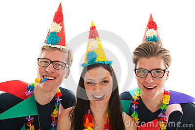 Adult male twins birthday with girl
