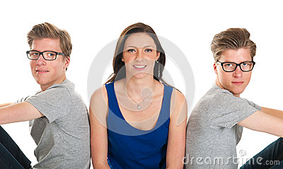 Adult male twins and young girl