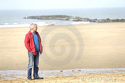 Adult man at the beach