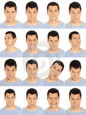 Free Adult Man Face Expressions Composite Isolated On W Stock Photos - 23190193