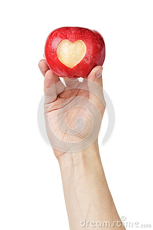 Free Adult Man Hand Holding Apple With Carved Heart Royalty Free Stock Images - 35756959