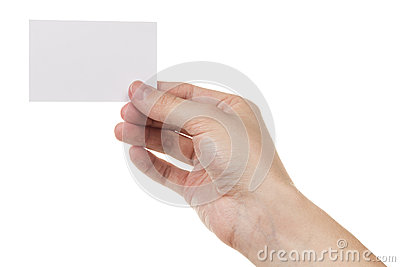 Adult man hand holding blank card