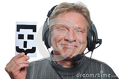 Adult man in headphones
