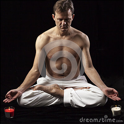 Adult man in lotus position