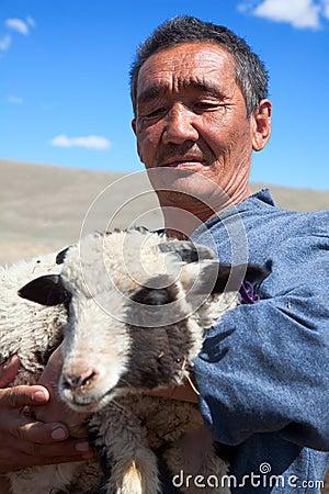 The adult man  shepherd