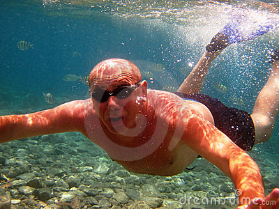 Adult man under water