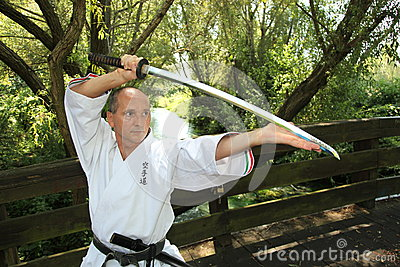 Adult men practicing Karate outdoor