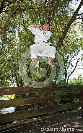 Adult men practicing Karate outdoor
