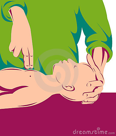 Adult performing cpr on infant