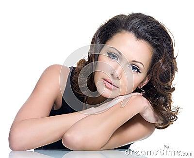 Adult sensuality beautiful brunette woman