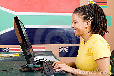 Adult student using computer