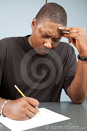 Free Adult Student With Test Anxiety Stock Photo - 20771120