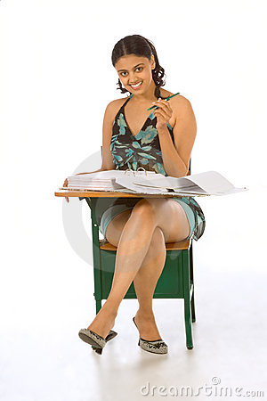 Adult Student woman by desk