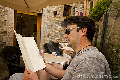 Adult Tourist in Historic Tuscany and Umbria, Ital