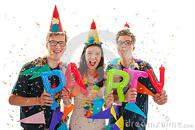 Adult twins and girl having party