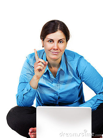 Adult woman with laptop computer