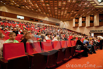 Adults and children in auditorium of circus Editorial Photography