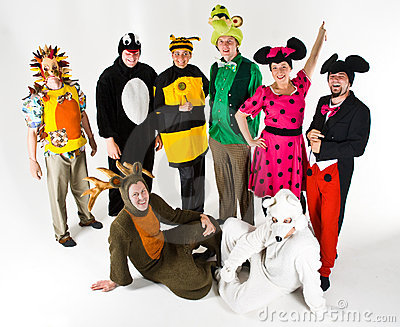 Adults in colorful costumes
