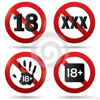 Adults only content button. XXX Vector sticker.