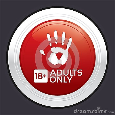 Free Adults Only Content Button. Red Round Sticker. Royalty Free Stock Photo - 33321685