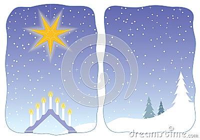 Advent star decorating a snowy window