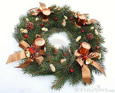 Advent wreath wih christmas decoration