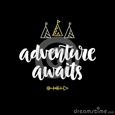 Adventure awaits hipster photo overlay, inspiration quote Vector Illustration