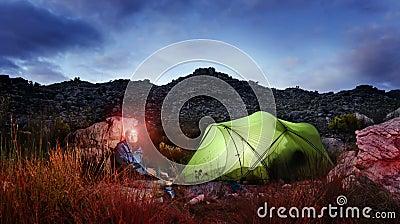 Adventure camping tent night