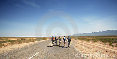 Adventure mountain bike maranthon in desert Editorial Stock Photo