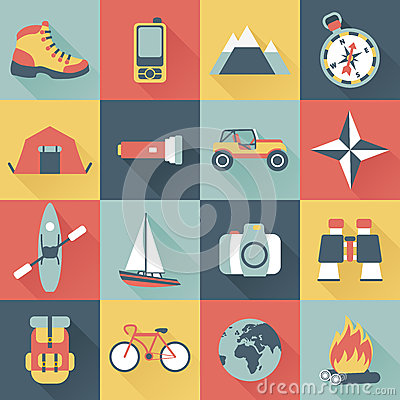 Free Adventure Traveling Icons Royalty Free Stock Photo - 38190425