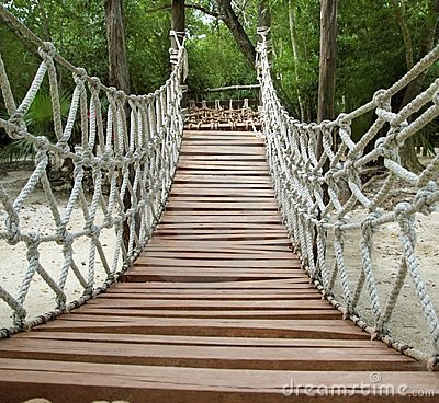 Free Adventure Wooden Rope Jungle Suspension Bridge Stock Image - 18617801
