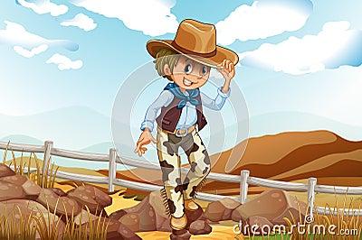 An adventurer above the hill near the rocky area